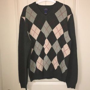 Mens Brooks Brothers Classic Argyle Wool Sweater M